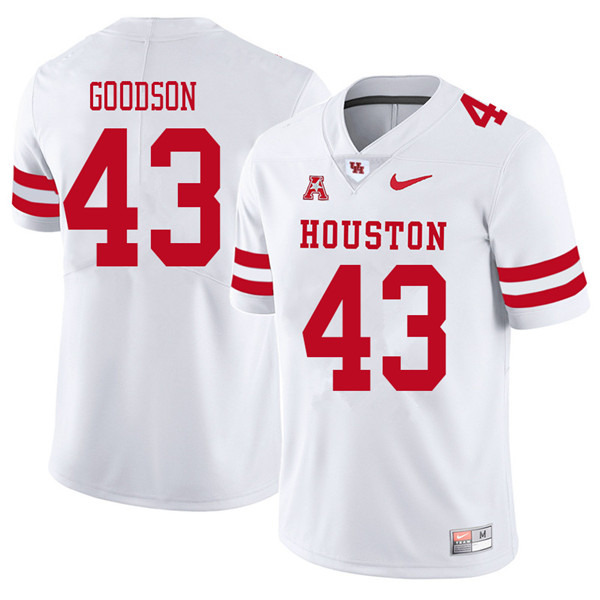 2018 Men #43 Dekalen Goodson Houston Cougars College Football Jerseys Sale-White